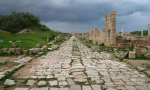 An ancient Roman road at Leptis Magna, Libya