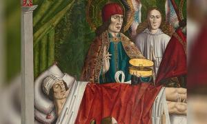 """Detail of """"A verger's dream: Saints Cosmas and Damian performing a miraculous cure by transplantation of a leg.' Master of Los Balbases, ca. 1495. Source: Public Domain"""