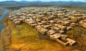 Reconstruction of the ancient city of Çatalhöyük