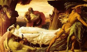 'Hercules Fighting Death to Save Alcestis' (1869-1871) by Frederic Leighton, 1st Baron Leighton. Many ancient death rituals seem very odd or macabre to modern minds.