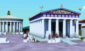 Reconstruction of the 4th century BC Temple of Asklepios at Epidauros (right) showing the ramp	Source: © 2019 J. Goodinson, scientific advisor, J Svolos. Antiquity Publishers Ltd