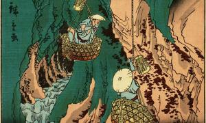 Detail of 'Iwatake mushroom gathering at Kumano in Kishu.'