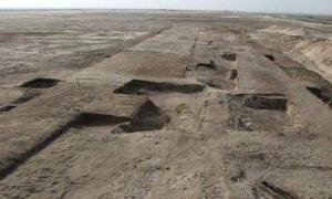 The ruins of the fortress near the ancient fortified city of Tell Habua after recent excavations