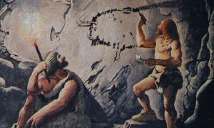 Ancient humans creating art