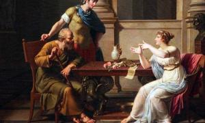 A painting depicting a debate between Socrates and Aspasia, by Nicolas André Monsiaux, circa 1800.