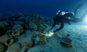 Ancient shipwreck with sacrificial altar