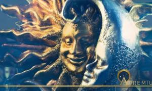 Venetian Carnival Mask of Golden Sun and Silver Moon by allasimacheva. (Adobe Stock)