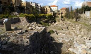 Archaeological site in Sidon, Lebanon, where a hidden room was recently discovered.