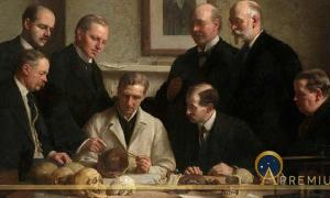 Group portrait of the Piltdown skull being examined by John Cooke in 1915. Back row: (left to right) F. O. Barlow, G. Elliot Smith, Charles Dawson, Arthur Smith Woodward. Front row: A. S. Underwood, Arthur Keith, W. P. Pycraft, and Sir Ray Lankester. Note the painting of Charles Darwin on the wall. (Public Domain).