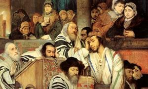 Detail of 'Ashkenazi Jews praying in the Synagogue on Yom Kippur. (1878 painting by Maurycy Gottlieb)