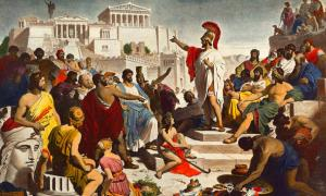 Nineteenth-century painting depicting the Athenian politician Pericles delivering his famous funeral oration in front of the Assembly
