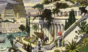 Hand-colored engraving of the Hanging Gardens of Babylon (19th Century)