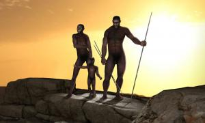 Representation of the bipedal hominins Homo erectus, one of Homo sapiens' ancestors. Source: ratpack223 /Adobe Stock
