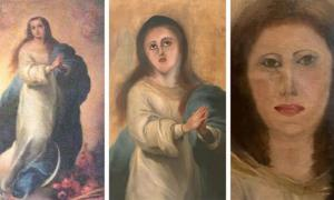 Murillo's original work (left), the botched restoration and an attempt to fix it. Source: Provided by Collector /Europa Press
