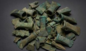 Hoard of Bronze age weapons and tools found in Havering, London.  Source: Museum of London