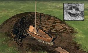 A side-rendering of the giant mound that once covered the buried Viking ship. Today, the ship's remains lie under less than 20 inches of topsoil. (NIKU/LBI ArchPro)