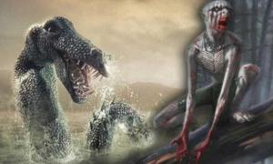Illustration of Ogopogo and an image of a Wendigo