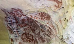 Chumash cave paintings at Painted Cave in the mountains above Santa Barbara