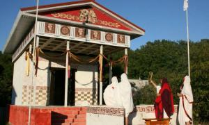 A ceremony taking place at the new Roman temple.