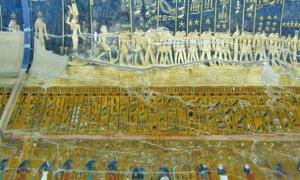 Photograph of one of the chamber walls of the sarcophagus of Seti I, where you can see hieroglyphics regarding the second hour of the Book of Amduat and the sky and its constellations.