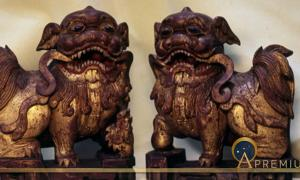A pair of wooden shiziguo type lions decorated with gilt and polychrome.  The female has a cub, symbolizing a happy family.  Chinese, early Ching Dynasty (Image: © Walther G. von Krenner)