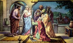 The Wise Men visit the Baby Jesus and offer gifts.