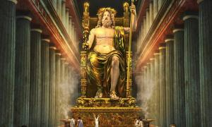 What the chryselephantine statue of Zeus at Olympia may have looked like.