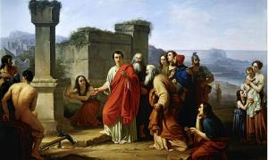 Painting by Paul Barbotti (1821-1867), depicting the scene of Cicero as he discovers the tomb of Archimedes forgotten by the Syracusans