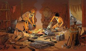 Illustration representing a 'Bronze Age workshop in the 9 to 10th Centuries BCE'. A circular economy can be traced back as far as the Bronze Age, or perhaps earlier.
