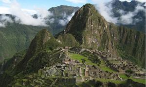 The famous abandoned city of Machu Picchu. Incan architecture, c. 1450 A.D.