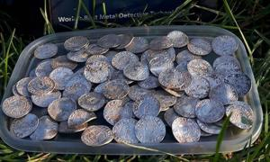 Part of the 2571 coin hoard found in Somerset in January      Source: Adam N Lisa / Facebook