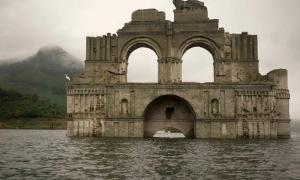 A photograph of the colonial church that has emerged out of the Nezahualcoyotl reservoir in Chiapas, Mexico