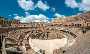 Inside the Roman Colosseum.