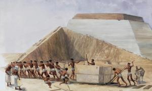 An illustration depicting the construction of the Egyptian pyramids