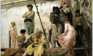 'The Slave Market' (1882) by Gustave Boulanger. From her childhood as a slave, Neaera was trained for the life of a Classical Greek courtesan. Source: Public Domain