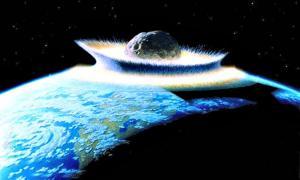 Artistic representation of a meteorite striking the Earth.