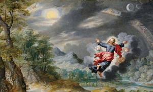 Detail of 'God creating the Sun, the Moon and the Stars' by Jan Brueghel the Younger.