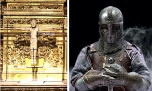 El Cid's crucifix, Cristo de las Batallas. (Garciadelosbarros / CC BY-SA 4.0)       Right: Representation of a knight. (Marla / Adobe stock)