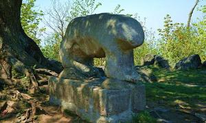 Ancient (probably Celtic) cult sculpture of a bear at the top of Mount Slęża.