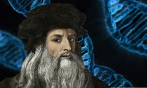 A representation of Leonardo da Vinci. (Deriv.) Background: Structure of DNA.