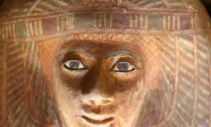 Detail of one of the decorated sarcophagi found in the recently excavated cemetery on the Giza Plateau