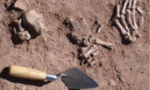 Defleshed human bones in ancient religious complex in Bolivia
