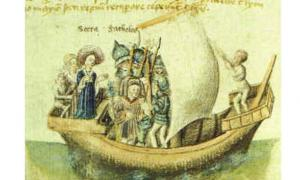 A 15th century depiction of Scota's voyage from Egypt.