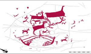 The boat, at the bottom of this drawing of the rock art, shows a mast and probable rowing stations.