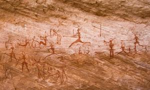 Rock paintings in Tadrart Acacus region of Libya dated from 12,000 BC to 100 AD.