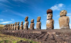 Group of Moai statues at the quarry of Rano Raraku, Easter Island.    Source: thomaslusth / Adobe Stock