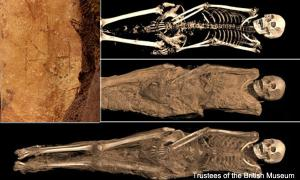 Egyptian mummies with tattoo of Archangel Michael