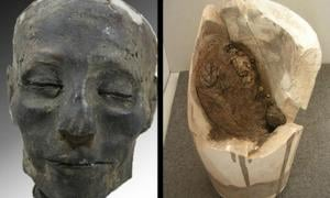 The head of Nebiri with a broken canopic jar containing his lungs