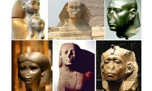 Some of the many Egyptian statues that are missing their noses