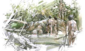 Reconstruction of the Schöningen lakeshore as the humans discovered the elephant's skeleton.          Source: ©Benoit Clarys Tubingen University